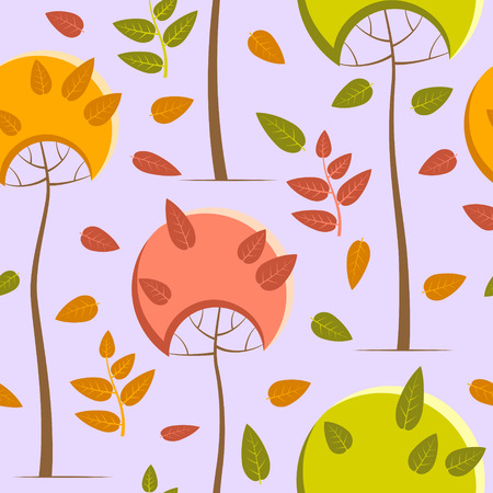 Autumn pattern with trees on a pale purple background Ilustracja