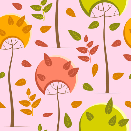 Autumn pattern with trees on a pale pink background