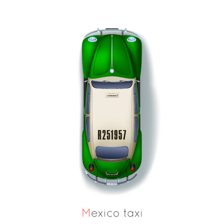Mexico city, traditional taxis around the world Ilustracja