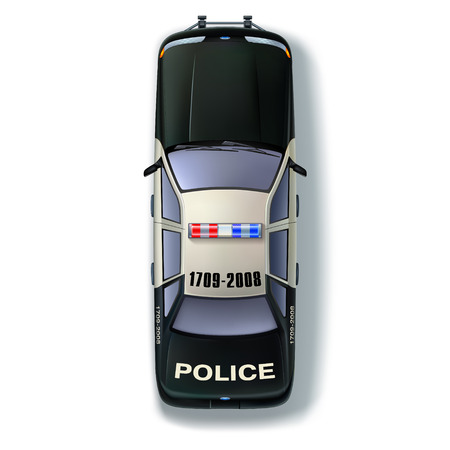 top view people: Top view of a police car with the traditional identification marks and scintillating lights