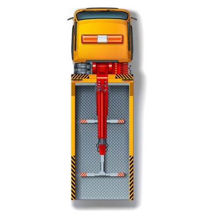 montacargas: Vista superior de la gr�a de color amarillo brillante con marcas de advertencia y luces centelleantes