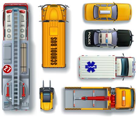 camion de pompier: Ensemble de isolé à usage spécial transport urbain vue de dessus Illustration
