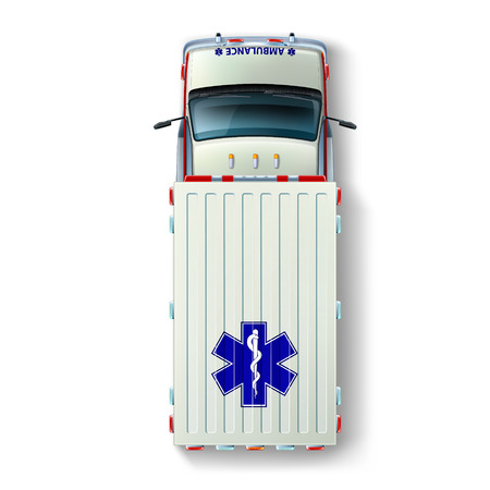 Top view of an ambulance with the international identification marks