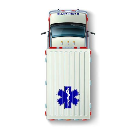 ambulancia: Vista superior de una ambulancia con las marcas internacionales de identificación