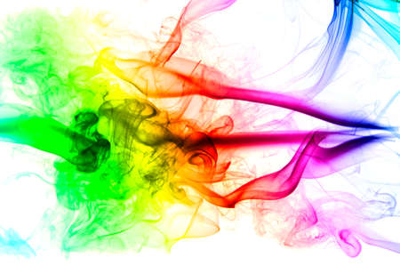colored smoke isolated on white background photo