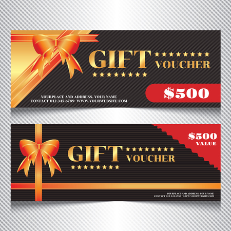 give away shop: Luxury Gift Voucher with Golden Red Orange Ribbon, Dark colour with Background