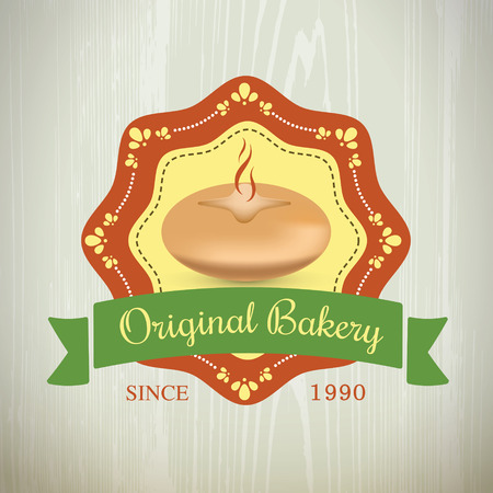 scotch: Set of  Bakery Original Logos Vintage Retro Label on the wood texture. Illustration