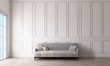 Modern classic interior grey sofa with wall panels and wooden floor. 3d rendering Zdjęcie Seryjne