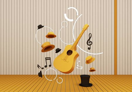 yellow guitar and black hat with music keys on a yellow floor and background 3D Render. 版權商用圖片