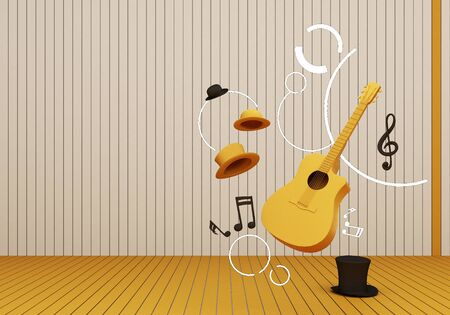 yellow guitar and black hat with music keys on a yellow floor and background 3D Render. Stock Photo - 131466631