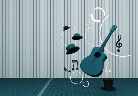 guitar and black hat with music keys on a green floor and background 3D Render.