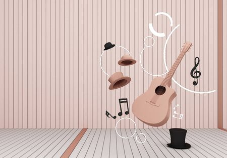 pink pastel guitar and black hat with music keys on a white floor and background 3D Render. 版權商用圖片
