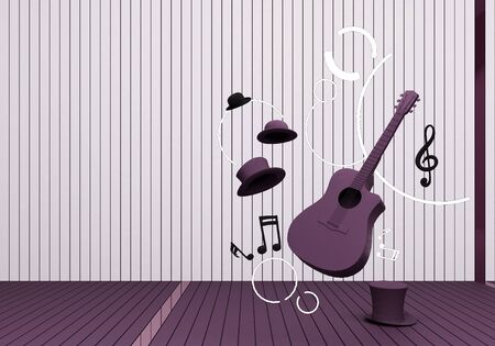 violet guitar and hat with music keys on a violet floor and background 3D Render.
