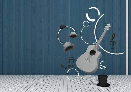 grey guitar and black hat with music keys on a yellow floor and blue background 3D Render. 版權商用圖片