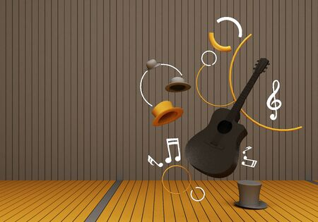 black guitar and grey hat with music keys on a yellow floor and grey background 3D Render. 版權商用圖片