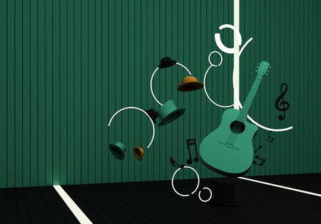 green guitar with music keys on a black floor and green background 3D Render.