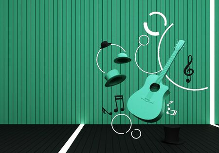 green guitar and black hat with music keys on a black floor and green background 3D Render.