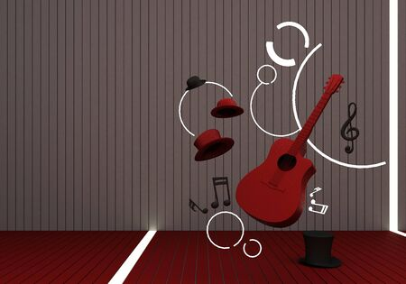red guitar and black hat with music keys on a red floor and background 3D Render.