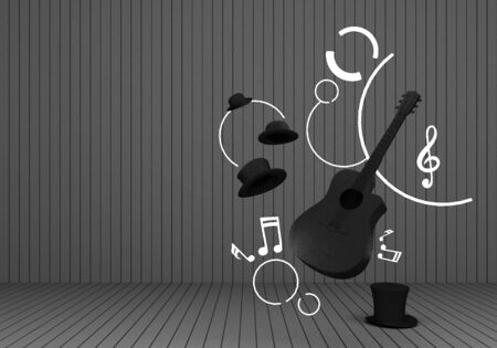 black guitar and black hat with music keys on a grey floor and background 3D Render.