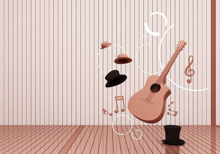 pink pastel guitar and black hat with music keys on a pink floor and background 3D Render.