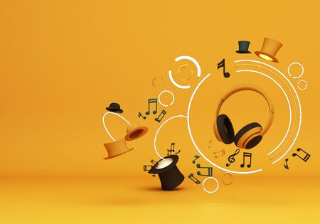 Yellow headphones with note music and colorful hats on yellow background 3d rendering