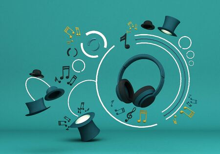 Green headphones with note music and black hats on green background 3d rendering Фото со стока