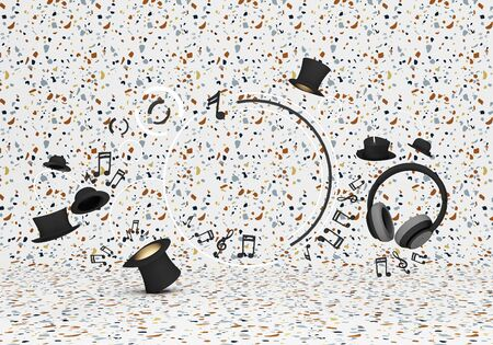 Circle composet with headphones and note music and  hats on Colorful background 3d rendering