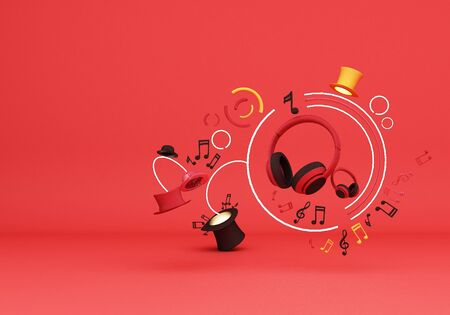 Red headphones with note music and colorful hats on red background 3d rendering