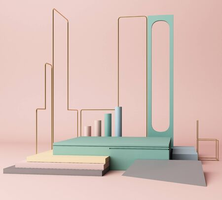 3d render, primitive shapes, abstract geometric background, minimal mock up, blank template, gold metal line, empty showcase, with pastel colors Фото со стока