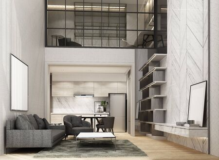Double space living and dining area wiht wooden floor and marble pattern wall decorate, Mezzanine working area. interior 3d rendering Фото со стока