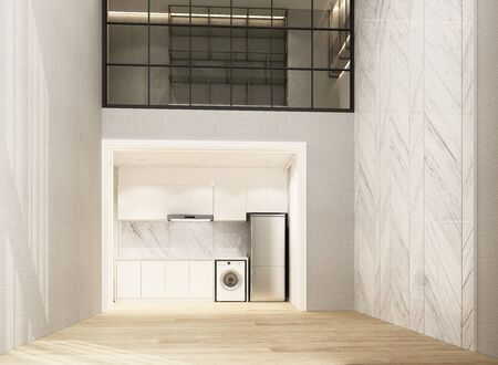 Double space living and dining area wiht wooden floor and marble pattern wall decorate, Mezzanine working area. interior 3d rendering Archivio Fotografico