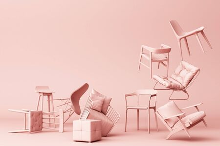 Pink pastel chairs in empty pink background. Concept of minimalism and installation art. 3d rendering mock up