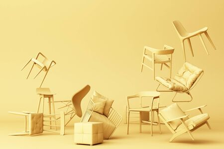 Yellow pastel chairs in empty Yellow background. Concept of minimalism and installation art. 3d rendering mock up