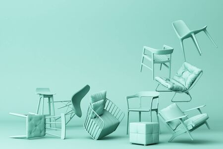 Green pastel chairs in empty green background. Concept of minimalism and installation art. 3d rendering mock up