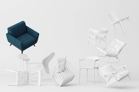 Blue armchair surrounding by white chairs in empty white background. Concept of minimalism and installation art. 3d rendering mock up Фото со стока