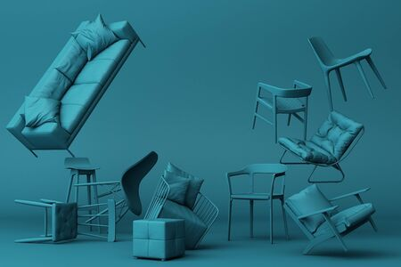 Blue-green chairs in empty blue background. Concept of minimalism and installation art. 3d rendering mock up