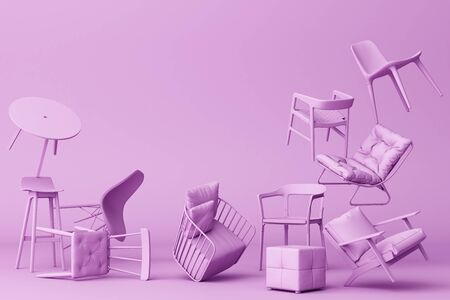 Purple chairs in empty Purple background. Concept of minimalism and installation art. 3d rendering mock up
