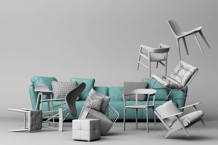 Green sofa surrounding by grey chairs in empty grey background. Concept of minimalism and installation art. 3d rendering mock up