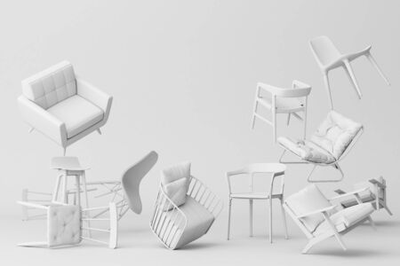 White chairs in empty white background. Concept of minimalism and installation art. 3d rendering mock up