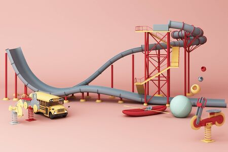 grey Roller coaster in Amusement parks surrounding by a lot of colorful toys in pink pastel background. 3d rendering