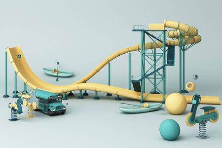 Yellow Roller coaster in Amusement parks surrounding by a lot of colorful toys in green pastel background. 3d rendering