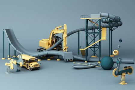 Blue Roller coaster in Amusement parks surrounding by a lot of colorful toys in blue background. 3d rendering Фото со стока