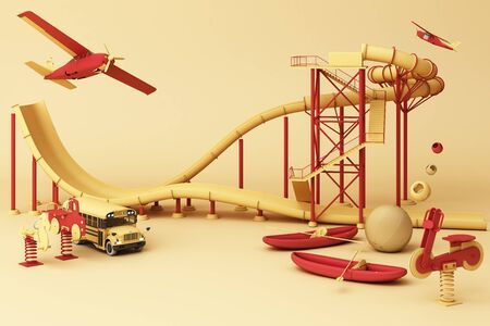 Yellow Roller coaster in Amusement parks surrounding by a lot of colorful toys in yellow pastel background. 3d rendering Фото со стока