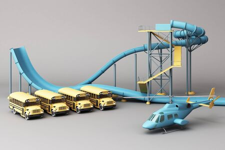 Blue Roller coaster in Amusement parks surrounding by a lot of colorful toys in grey background. 3d rendering