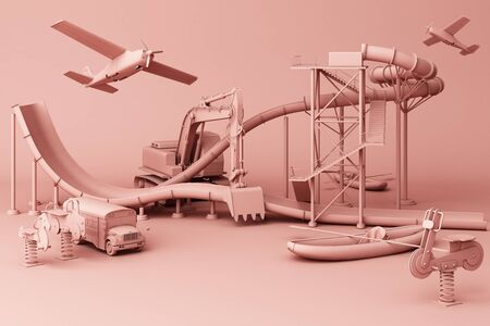 Pink Roller coaster in Amusement parks surrounding by a lot of colorful toys in pinkpastel background. 3d rendering