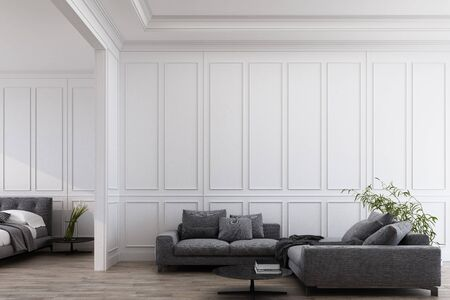 Modern classic white living and bedroom with grey furniture , panels and wooden floor. 3d render illustration mock up.