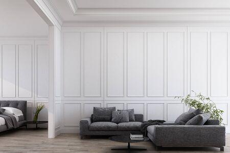 Moderne klassieke witte woon- en slaapkamer met grijze meubels, panelen en houten vloer. 3D render illustratie mock up.
