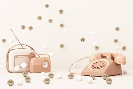 Old telephone and vintage radio player on a pink background. 3D rendering Фото со стока