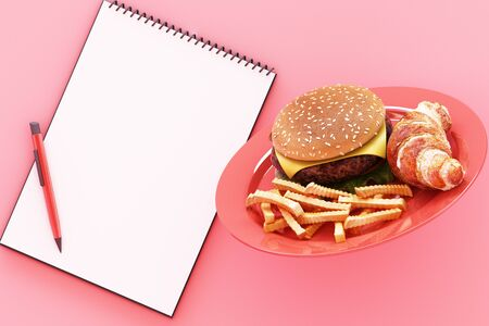 hamburger with french fries in the plate and clipboard on pink background. 3d render