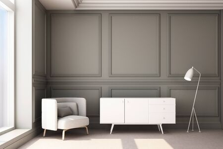 3d rendering illustration of living room with luxury classic wall panel and furniture. Zdjęcie Seryjne